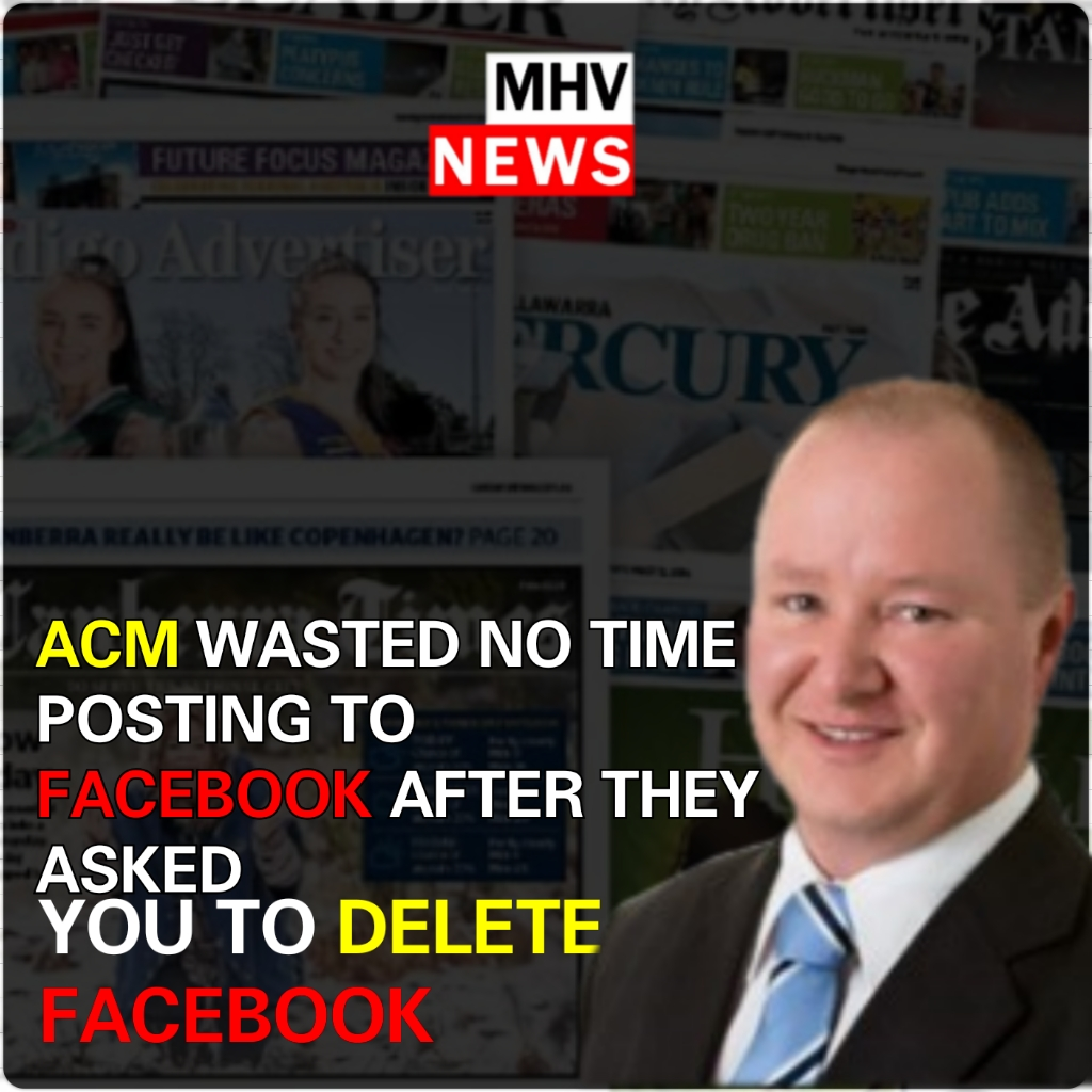 THE HYPOCRISY OF ACM TO RETURN TO FACEBOOK AFTER ASKING YOU TO DELETE FACEBOOK