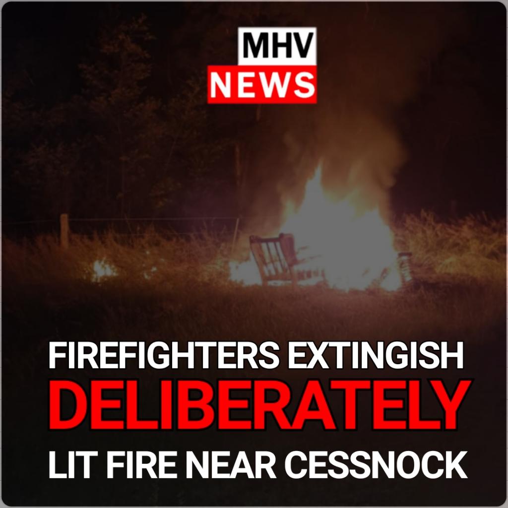 FireFighters Extinguish deliberately lit fire Near Cesnock