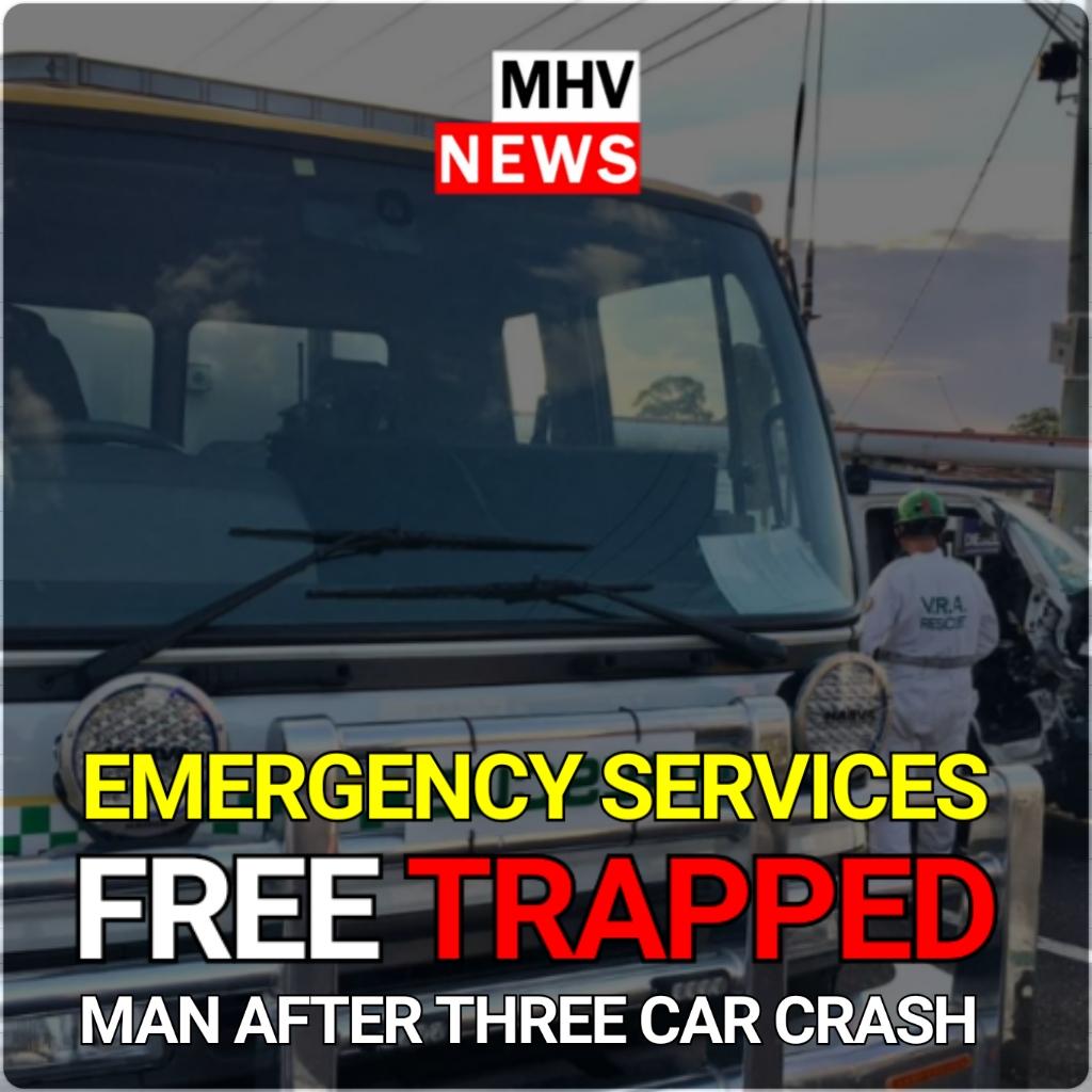 EMERGENCY SERVICES FREE MAN TRAPPED AFTER THREE CAR SMASH – HEDDON GRETA